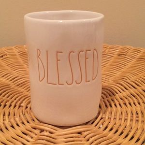 "Rae Dunn ""Blessed"" ceramic candle."